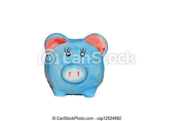 blauwe piggy bank - csp12524882