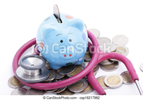 blauwe piggy bank - csp16217982