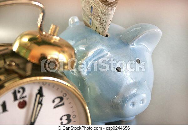 blauwe piggy bank - csp0244656