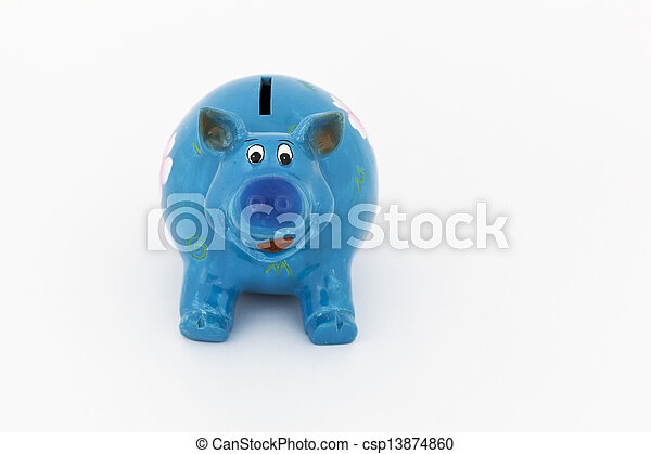 blauwe piggy bank - csp13874860