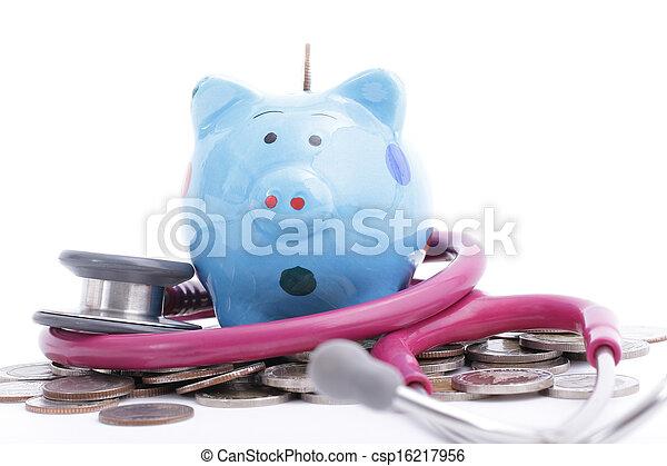 blauwe piggy bank - csp16217956