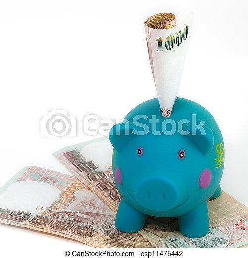 blauwe piggy bank - csp11475442