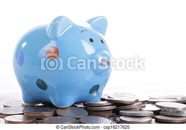 blauwe piggy bank - csp16217625