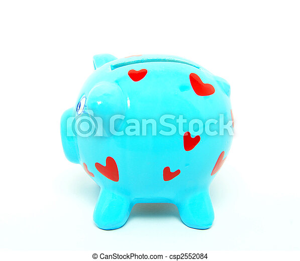 blauwe piggy bank - csp2552084
