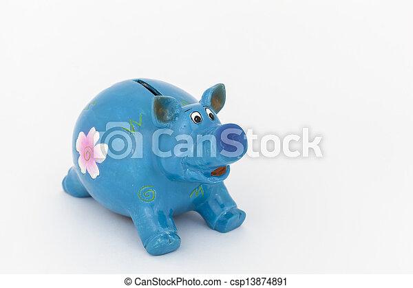 blauwe piggy bank - csp13874891