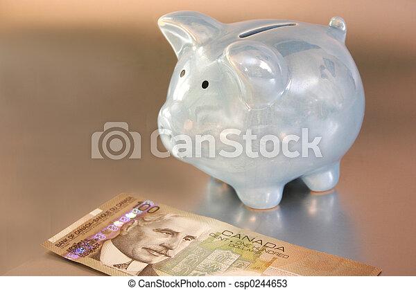 blauwe piggy bank - csp0244653