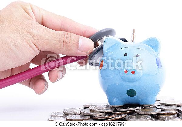 blauwe piggy bank - csp16217931