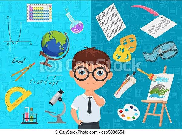 blauwe , plat, stijl, specialization, ijverig, iconen, omringde, karakter, school, achtergrond., onderwerpen, gevarieerd, schooljongen, choosing., academisch, bril - csp58886541