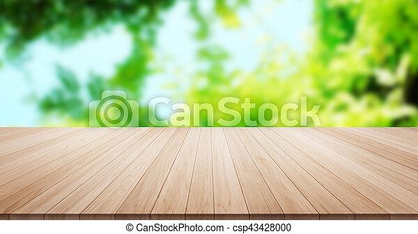 blauwe , product, blad, montage, bovenzijde, hemel, display, hout, groene achtergrond, tafel, of, lege - csp43428000