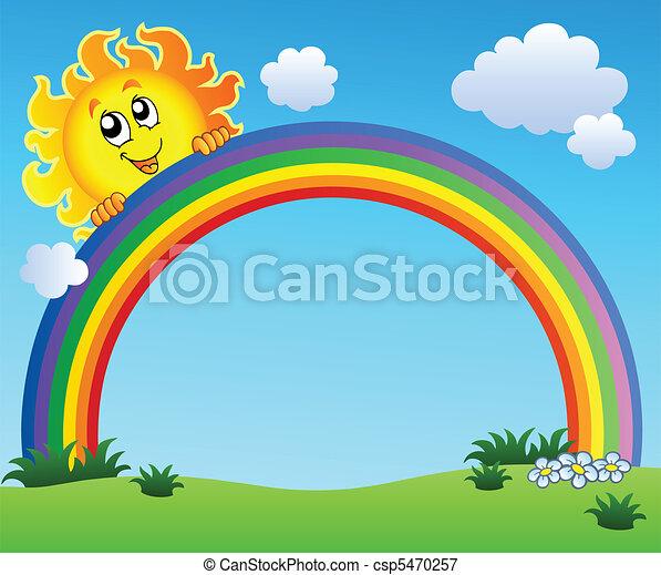 blauwe , regenboog, hemel, vasthouden, zon - csp5470257
