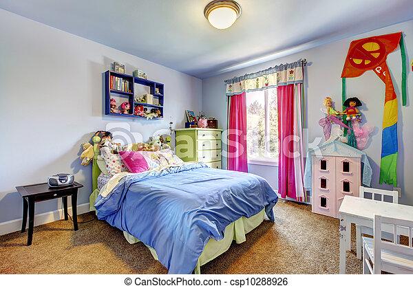 Blauwe , room., slaapkamer, meiden, interior., kind. Blauwe ...