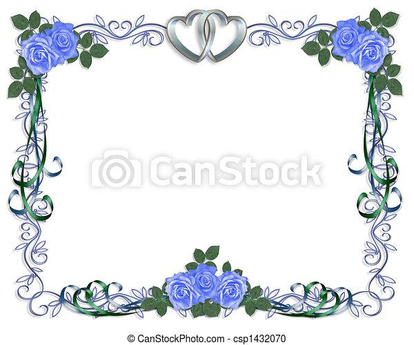 blauwe roos, trouwfeest, grens, uitnodiging - csp1432070