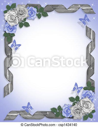 blauwe , rozen, grens, linten, trouwfeest - csp1434140