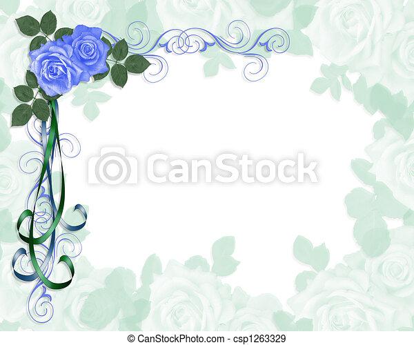 blauwe , rozen, uitnodiging, trouwfeest - csp1263329