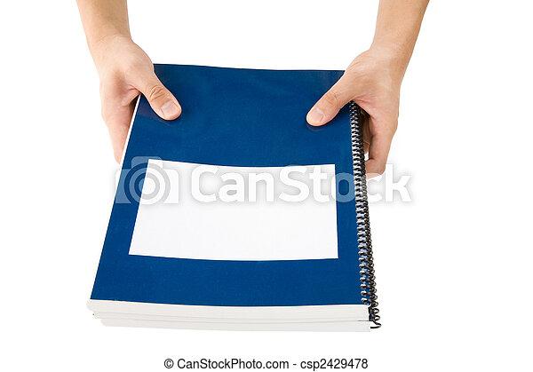 blauwe , school, schoolboek - csp2429478