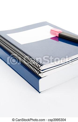 blauwe , school, schoolboek - csp3995304
