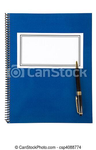 blauwe , school, schoolboek - csp4088774