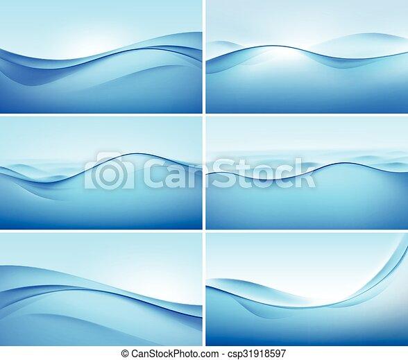 blauwe , set, abstract, achtergronden, golf, vector - csp31918597