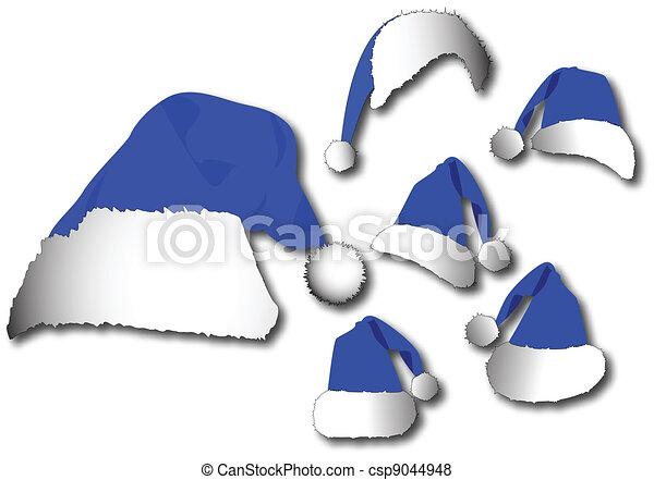 blauwe , set, hoedje, kerstman, vector - csp9044948