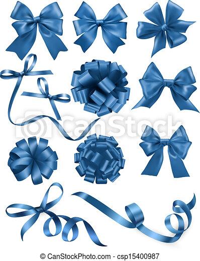 blauwe , set, illustration., cadeau, groot, buigingen, vector, ribbons. - csp15400987