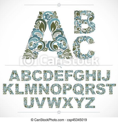 blauwe , sierletters, alfabet, lettering., pattern., flora, hand
