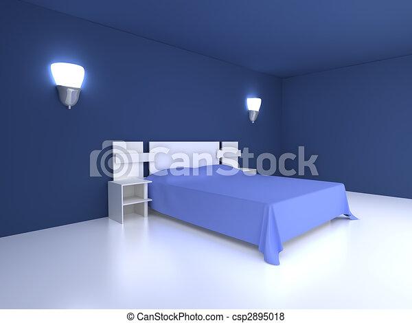 Blauwe , slaapkamer. Interieur, scene., gereproduceerd, illustration ...