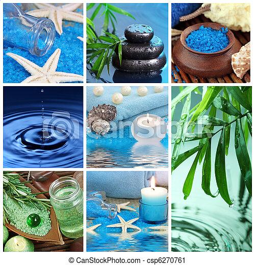 blauwe , spa, collage - csp6270761
