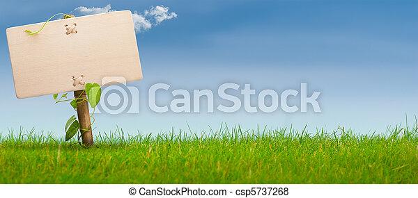 blauwe , spandoek, meldingsbord, hemel, groene, horizontaal - csp5737268