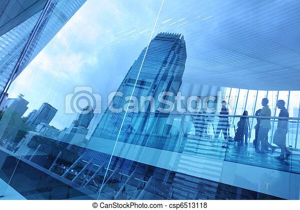 blauwe , stad, achtergrond, glas - csp6513118