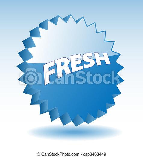 blauwe ster, marketing, woord, advertisement., vector, fris, 3d, badge, bevordering - csp3463449