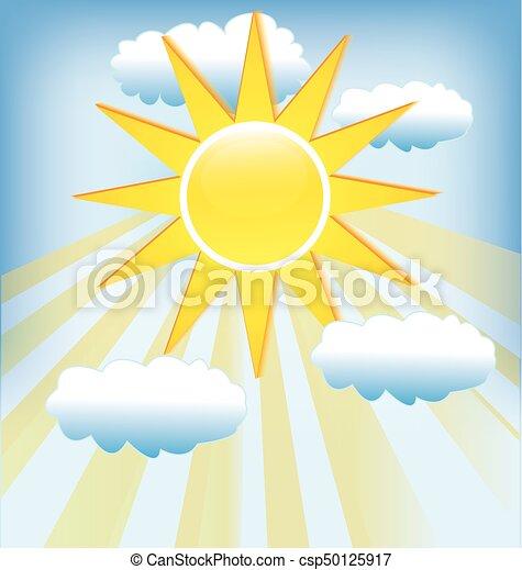 blauwe , stralen, zon, hemel, bewolkt, achtergrond. - csp50125917