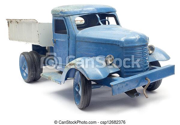 blauwe , stuk speelgoed vrachtwagen - csp12682376