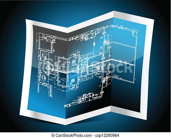 blauwe , technisch, papier, tekening - csp12280964