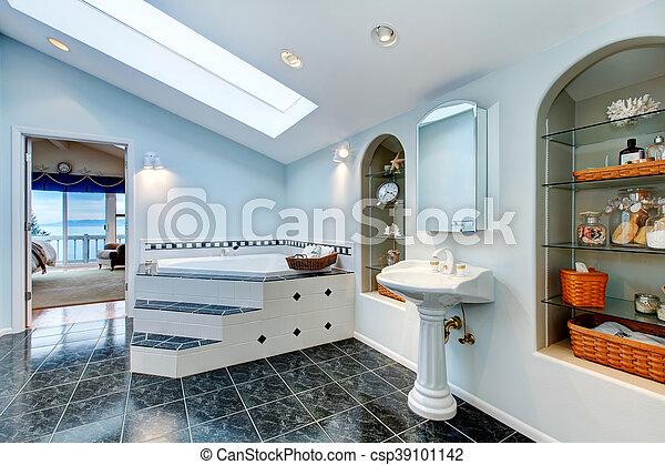 Hoek Wasbak Badkamer : Blauwe tub. badkamersvloer bad meester tegel hoek marmer