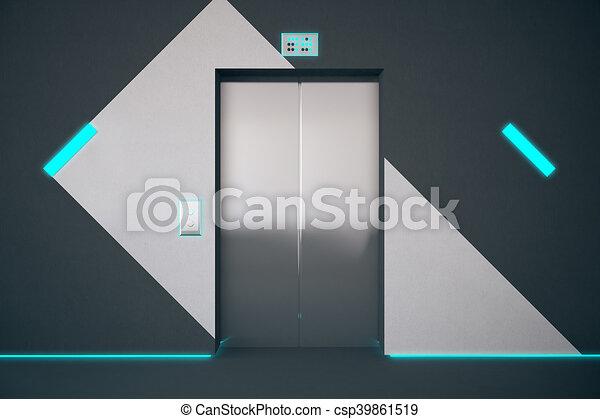 blauwe verlichting, lift - csp39861519