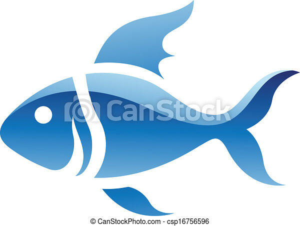 blauwe vis, pictogram - csp16756596