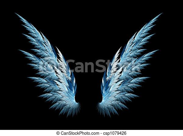 blauwe , vleugels, engel - csp1079426