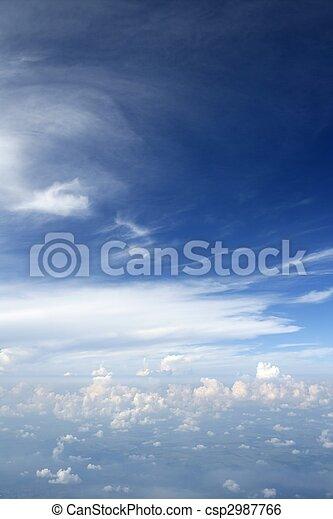 blauwe , vliegtuig, hemel, vliegtuig, aanzicht - csp2987766