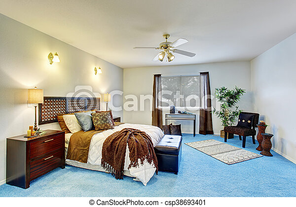 Blauwe Vloerbedekking Slaapkamer : Blauwe vloer moderne luxe slaapkamer interieur tapijt. blauwe