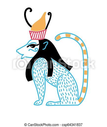 blauwe , vorm, egyptisch, kroon, leeuw, deity - csp64341837