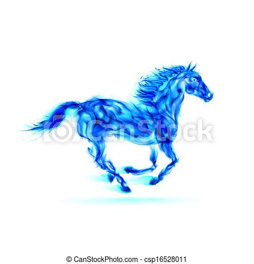 blauwe , vuur, rennende , horse. - csp16528011