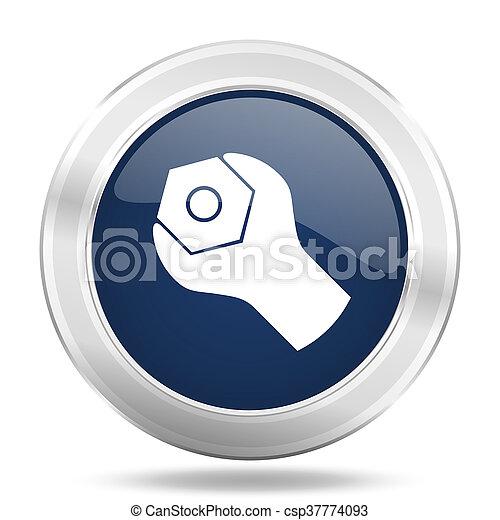 blauwe , web, beweeglijk, app, illustratie, metalen, donker, internetten ikoon, knoop, gereedschap, ronde - csp37774093