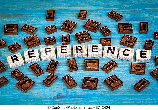 blauwe , woord, referentie, houten, alfabet, geschreven, hout, achtergrond, block. - csp45713424