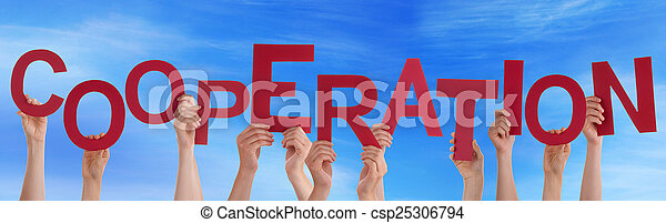 blauwe , woord, vasthouden, mensen, velen, hemel, samenwerking, handen, rood - csp25306794