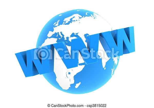 blauwe , www, ongeveer, -, glanzend, wereld - csp3815022