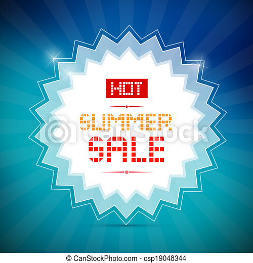 blauwe , zomer, titel, verkoop, warme, vector, achtergrond - csp19048344
