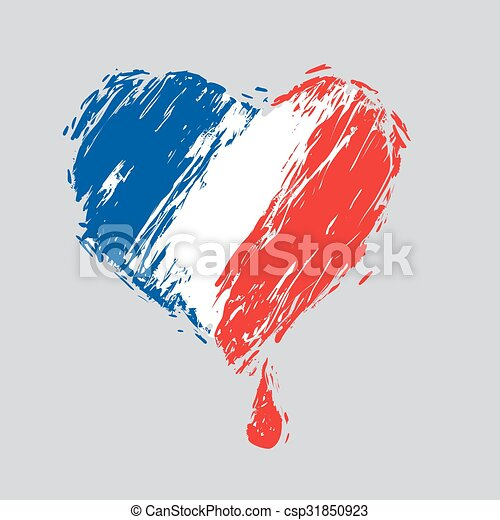 bleeding heart  colors of the French flag - csp31850923