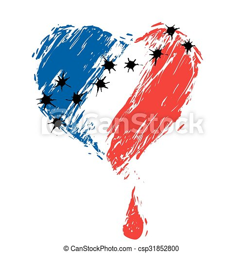 bleeding heart  colors of the French flag - csp31852800