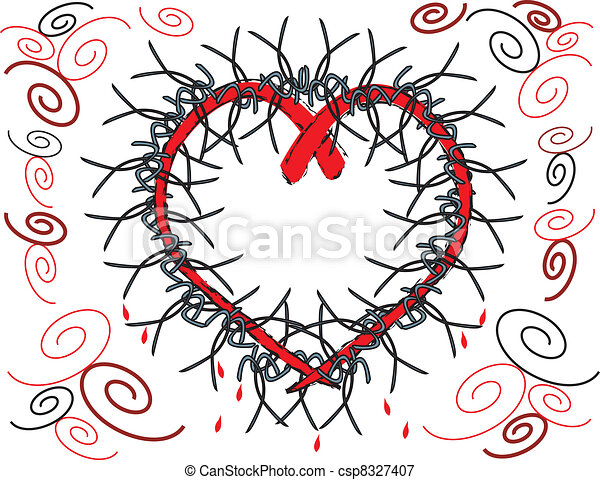 Bleeding heart with barbed wire. Drawing of a bleeding heart wrapped ...