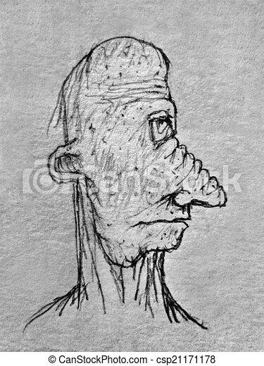 Bleistift Altes Abbildung Seite Portrat Mann Zeichnung